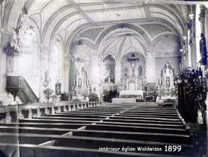 intérieur de l'église de Waldwisse en 1899