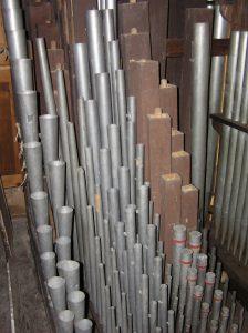 intérieur de l'orgue de l'église de Waldwisse
